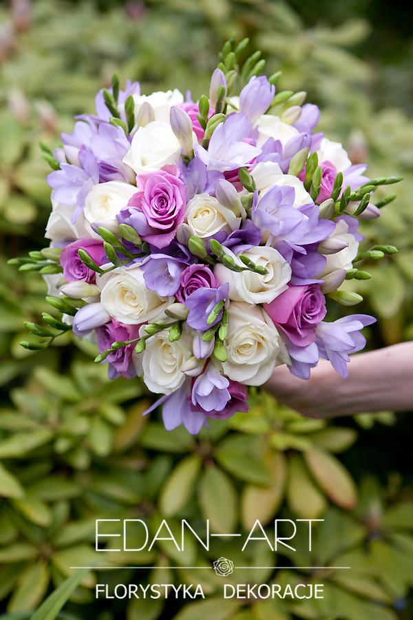 Bukiety Ślubne Edan-Art Mrągowo, Olsztyn, Warmińsko-Mazurskie, biały, fiolet, ślub, frezja, róża, #bukiet