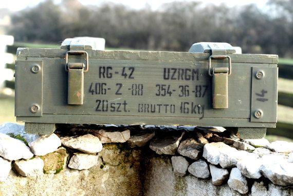 Vintage Wooden Military Box Wood Explosive Box by SlawekTreasures