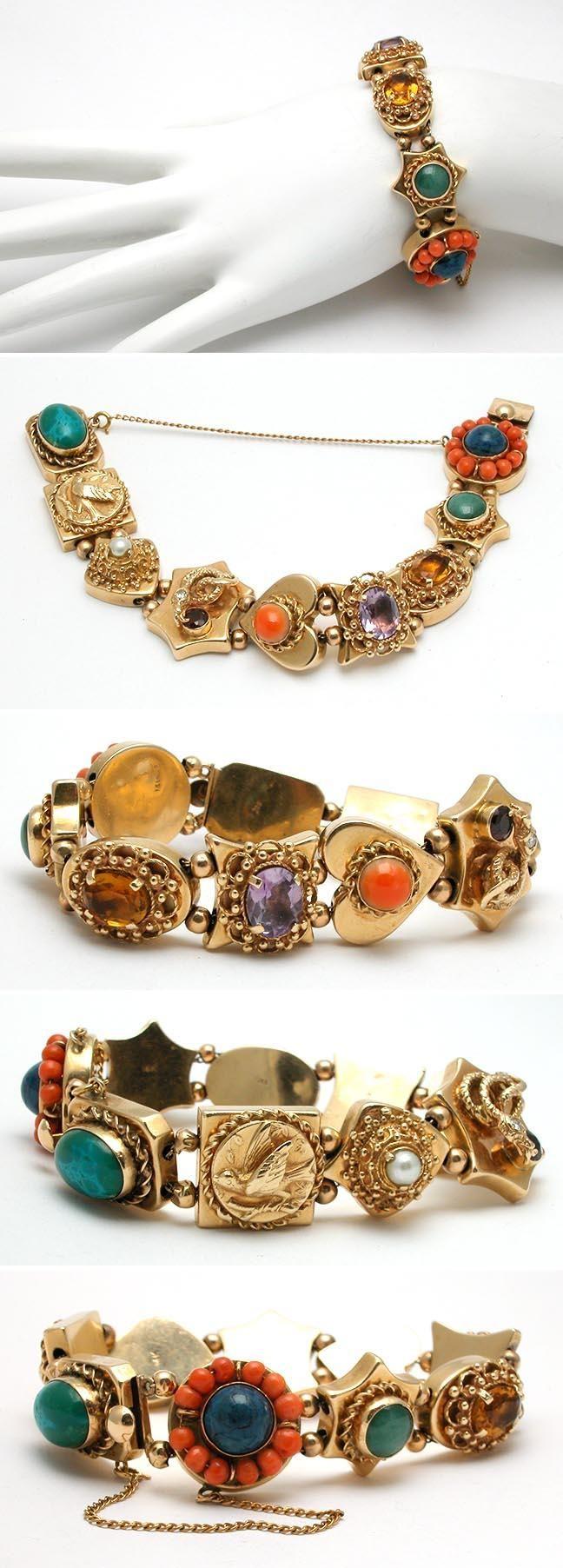 Vintage Estate Gemstone Slide Charm Bracelet Solid 14k Gold  Eragem
