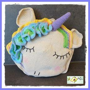 Crochet Unicorn Pillow Rundes Einhorn Kissen Häkeln Anleitung