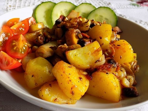 Pečené brambory se žampióny - Recept