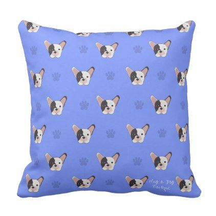 #Blue Paw French Bulldog Throw Pillow - #bulldog #puppy #bulldogs #dog #dogs #pet #pets