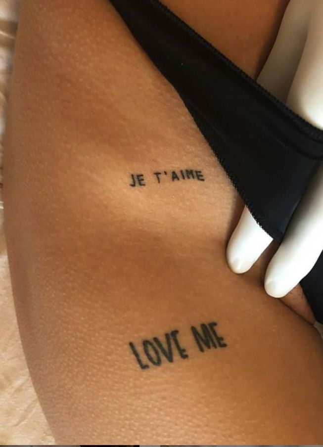 Unique small words tattoo on thigh, quote tattoo ideas, tiny words tattoo, meani… – Ink – #Ideas #Ink #meani #quote #small