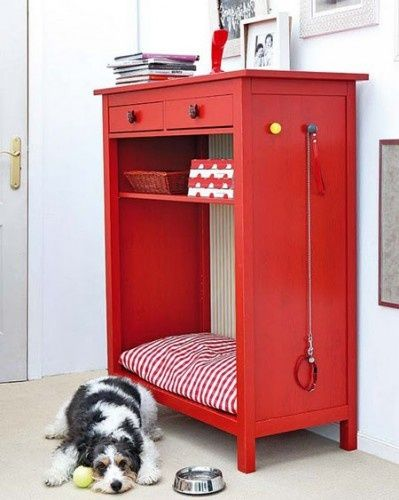 Repurpose a chest of drawers into a doggie station - Inspiration only