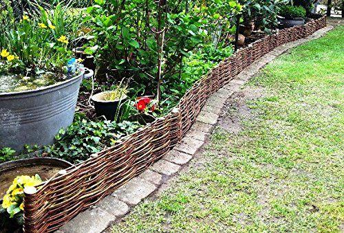 Beeteinfassung System 10x Profil (100x20cm) Palisade Rasenkante Weide Weidenzaun: Amazon.de: Garten