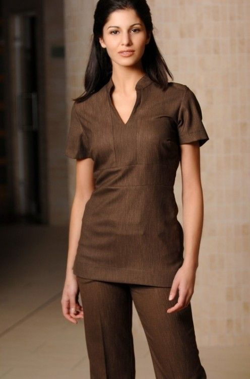 Elegant v neck brown linen beauty tunic available in for Spa uniform in the philippines