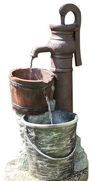 Pump w/ Pail Outdoor Water Fountain contemporary outdoor fountains