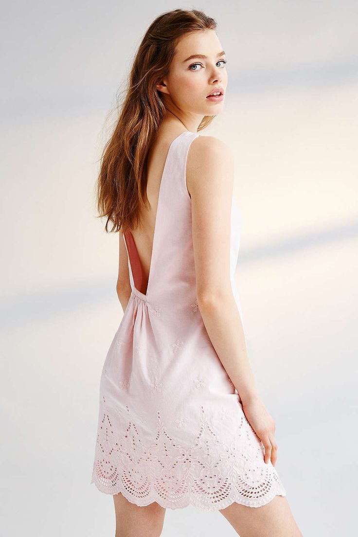 Kimchi blue low back eyelet scallop edge dress urban for Urban outfitters wedding dresses