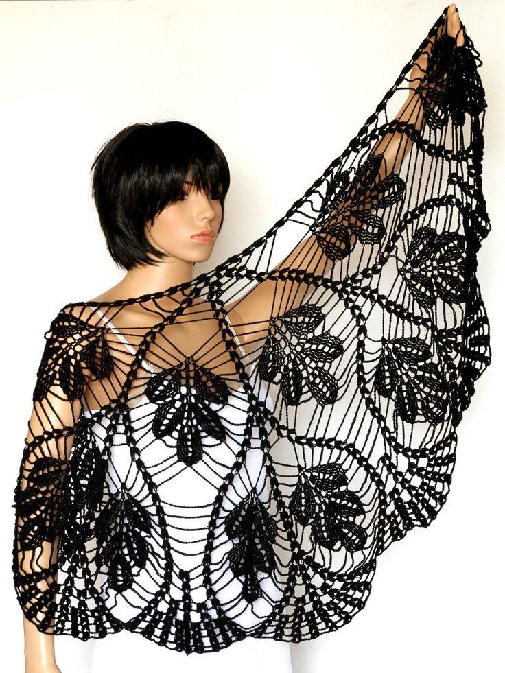 SALE Black  Shawl,Black Wraps Shawl, Crochet Scarf , Womens Clothing, black Accessories, evening black shawl, by ettygeller on Etsy https://www.etsy.com/listing/166014391/sale-black-shawlblack-wraps-shawl