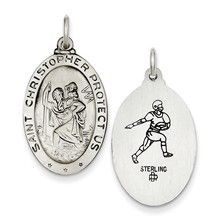 St. Christopher Football Medal, Appealing Charm in Sterling Silver