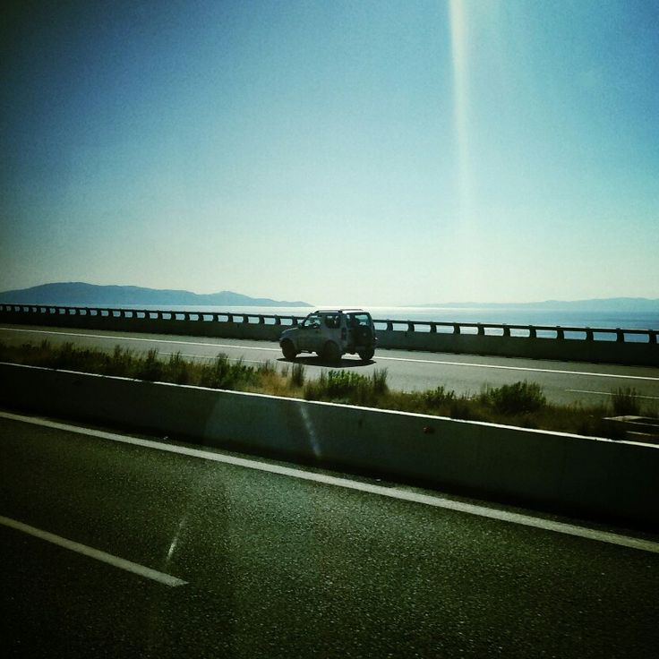 On the road.