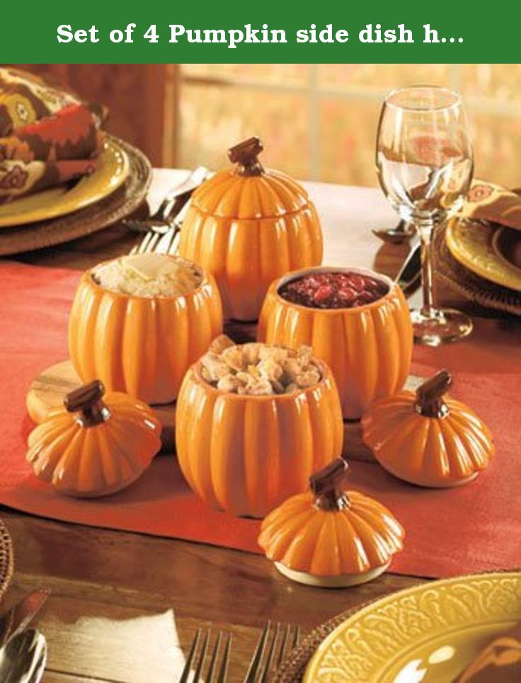 """Set of 4 Pumpkin side dish holders, perfect for Thanksgiving or any Fall feast. Fill your dining room with the color of this decorative and functional Set of 4 Pumpkin Side Dishes. Great for individual servings of stuffing, mashed potatoes, green bean casserole and more, these pumpkin-shaped dishes also have decorative handled lids. Leave more room on your plate when you add these adorable dishes to your table ensemble. 5"""" x 4-1/2"""" dia., each. Dolomite. Details: 5"""" x 4-1/2"""" dia., each…"""