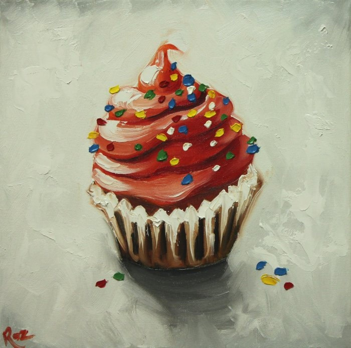 Cupcake painting 121 12x12 inch original still life oil painting cupcakes by Roz. $85.00, via Etsy.