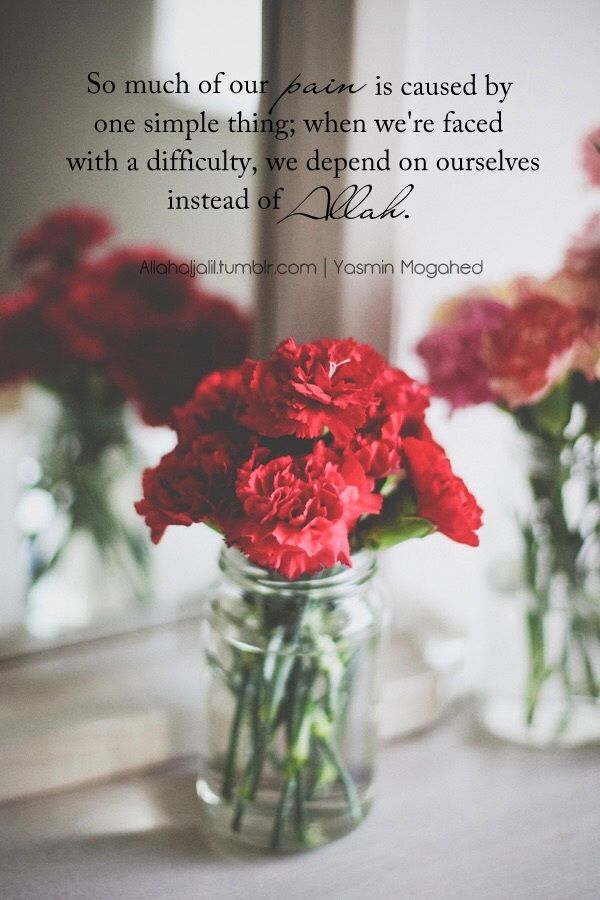 """So much of our pain is caused by one simple thing: when we're faced with a difficulty, we depend on ourselves [or others] instead of Allah Subhanahu wa Ta'ala."""