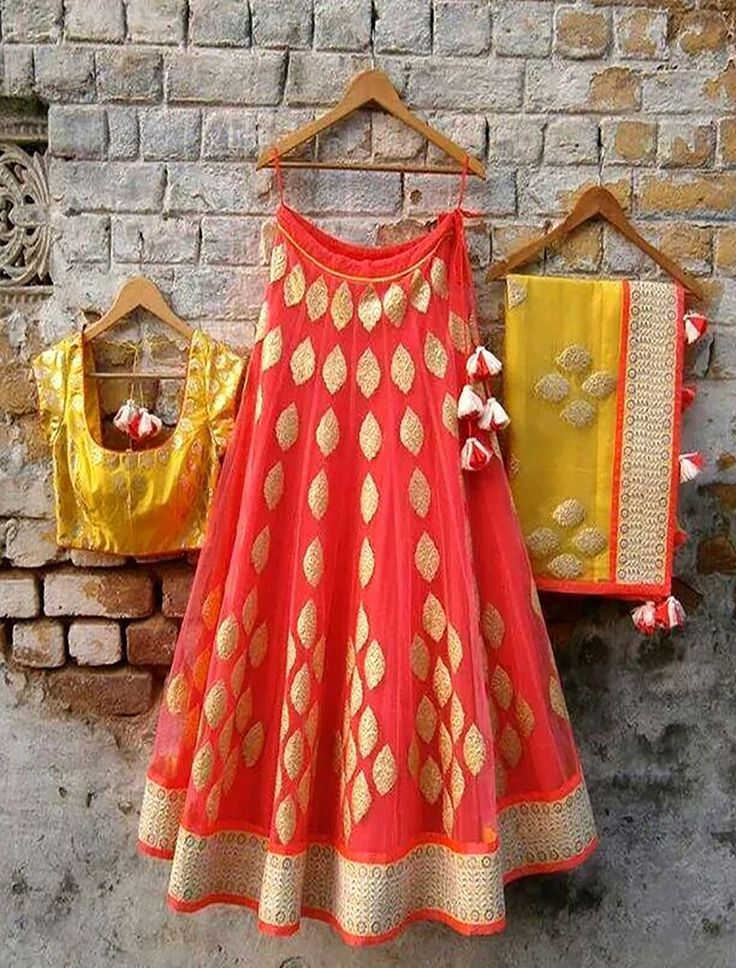 Share to get 5% OFF on your order Attractive Indian  Red  And  Yellow Designer Lehenga #FleAffair