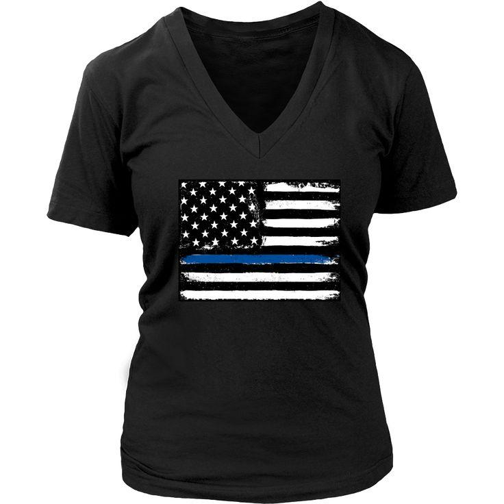 Thin Blue Line Flag USA Short-Sleeve V-Neck Women's T-Shirt 2 Colors