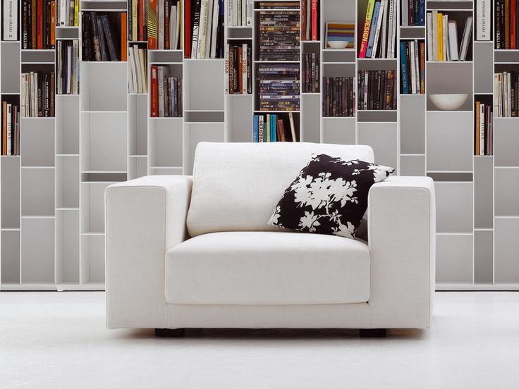 Fabric armchair with removable cover with armrests SLIDING SOFA | Armchair - MDF Italia