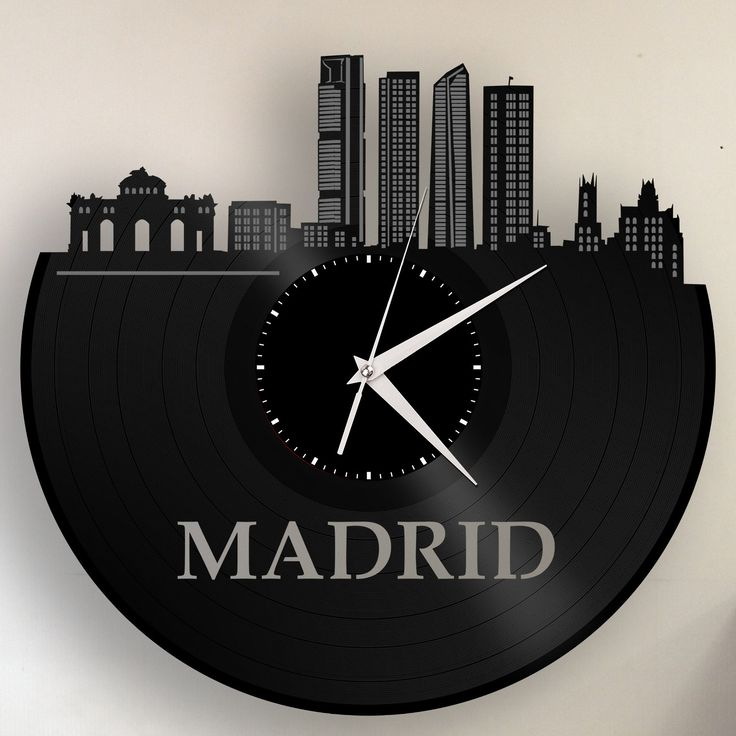 Real Madrid Skyline Clock, Spain Cityscape, Spanish Decor, Vinyl Record Art, Unique Gifts For Guys, Madrid Spain, City Wall Decor, Retro by VinylShopUS on Etsy