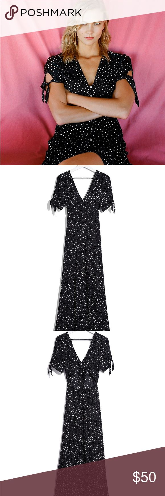 Karlie Kloss Dot Print Maxi Dress Adorable polka dot maxi dress from Karlie Kloss x Express collection. Completely sold out online & in stores. Features tied sleeves, flattering button up top, partially open back, and a front slit. Wore this once on Easter Sunday and received SO many compliments. Condition is like new, and paid $88 plus tax. Size 4. Flynn Skye Dresses Maxi
