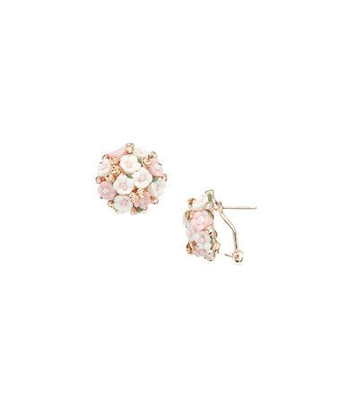 Look at this #zulilyfind! Pink & White Rose Stud Earrings #zulilyfinds