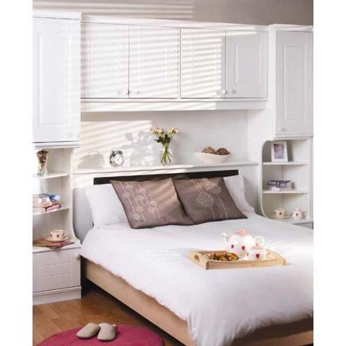 Harveys caxton henley strata white overbed unit corner for Over wardrobe storage