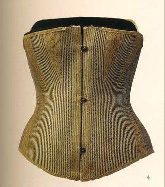 Корсет. 1860-1870-е. Коричневая рафиа и хлопок, стальная планшетка.