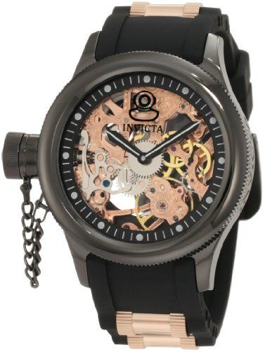 Invicta Men's 1847 Russian Diver Left Handed Mechanical Skeleton Dial Black Polyurethane Watch Invicta. Save 71 Off!. $399.98. Precise japanese mechanical movement. 60 second subdial. Water-resistant to 50 m (165 feet). Flame-fusion crystal; black ion-plated stainless steel case; black polyurethane strap with rose gold ion-plated stainless steel barrel accents. Rose gold tone skeleton dial with black hands and grey hour markers; secured screw-down cap on crown; exhibition c...