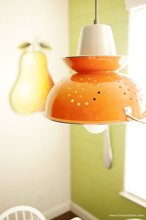 Yard Sale Decorating- Tutorials including this DIY colander light by Kristen Duke.