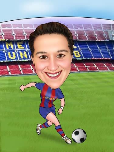 Karikatuur van uw eigen foto. Een fantastisch leuke foto-karikatuur, waarin je als voetballer scoort. -