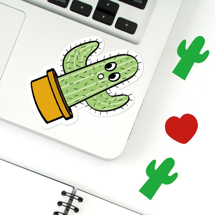 Shocked cactus sticker laptop sketchbook folders phone case