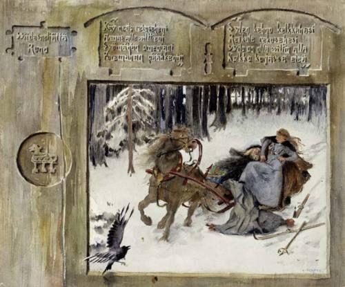 Kullervo ja hänen sisarensa reessä  Kullervo and his sister in the sledge  Louis Sparre  watercolour