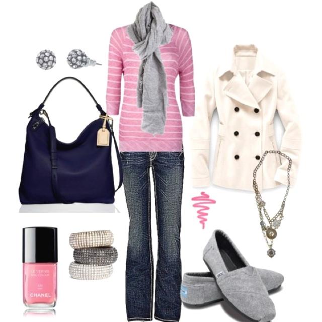 Clothes - pink, navy, grey, cream color scheme
