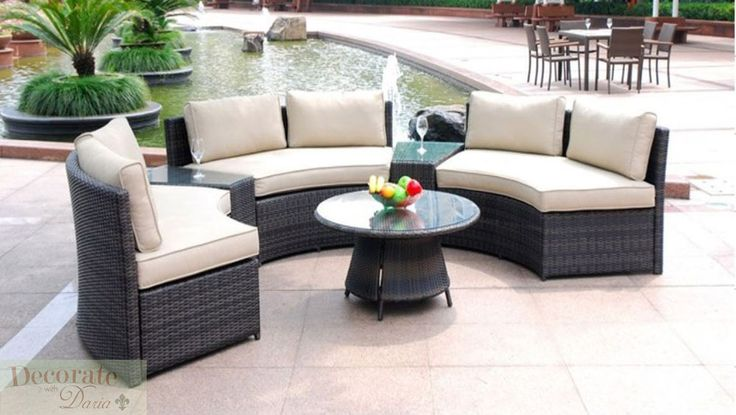 6 SEAT CURVED OUTDOOR PATIO FURNITURE SET 9 Ft PE Wicker Sofa Lounges Tables