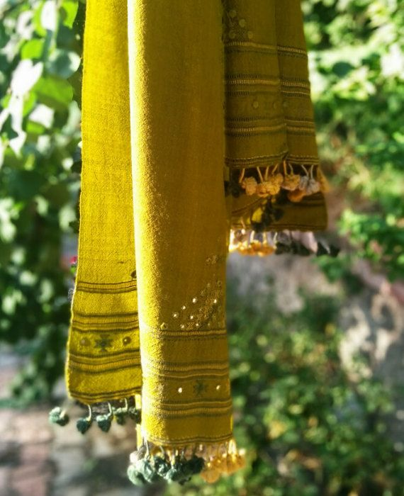 Handwoven and Hand Embroidered Pure Wool Stole by MograDesigns