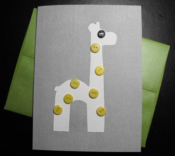 $3.50 Yellow Button Giraffe Greeting Card