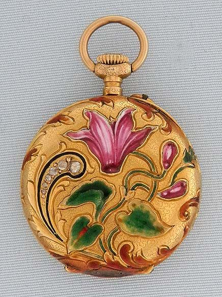 Art Nouveau Gold Enamel and Diamond Pendant Watch - Bogoff Antique Pocket Watch # 7054