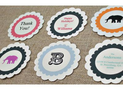 Scallop Circles stickers for treat bags