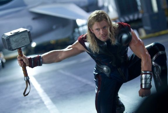 At 6-foot-3 and packed with 30 pounds of extra muscle for 'The Avengers,' Chris Hemsworth certainly looked like the thunder god filming battle scenes for his hit movie. The highly anticipated and star-studded film, 'The Avengers' hits theaters on May 4.