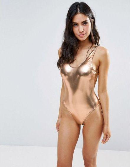 Metallic: Swimwear trend | Playful Promises Metallic Scoop Back Swimsuit