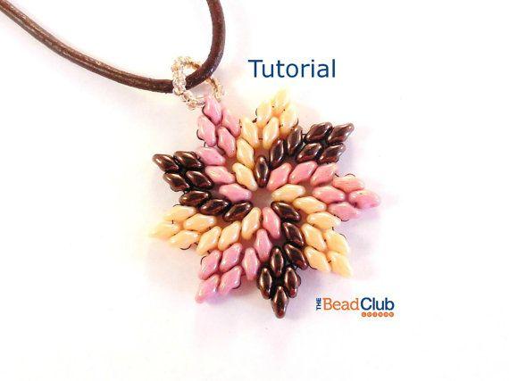 Superduo Pendant Pattern, Beading Pattern Instant Download PDF- Pinwheel Pendant Tutorial