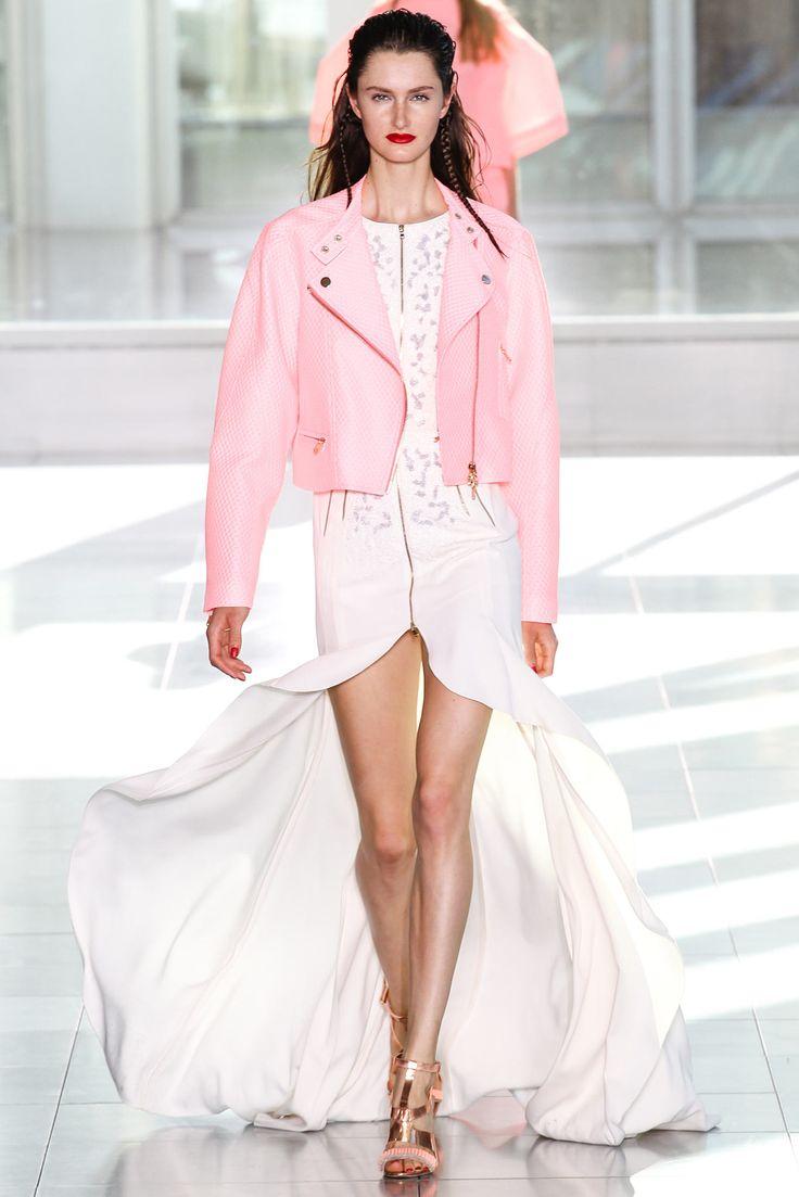 Antonio Berardi Spring 2014 RTW  Go for girlish biker chick look. Pink leather jacket and soft pastel - cream dress.  #leather #jacket  #pink #runway #spring #summer #rtw
