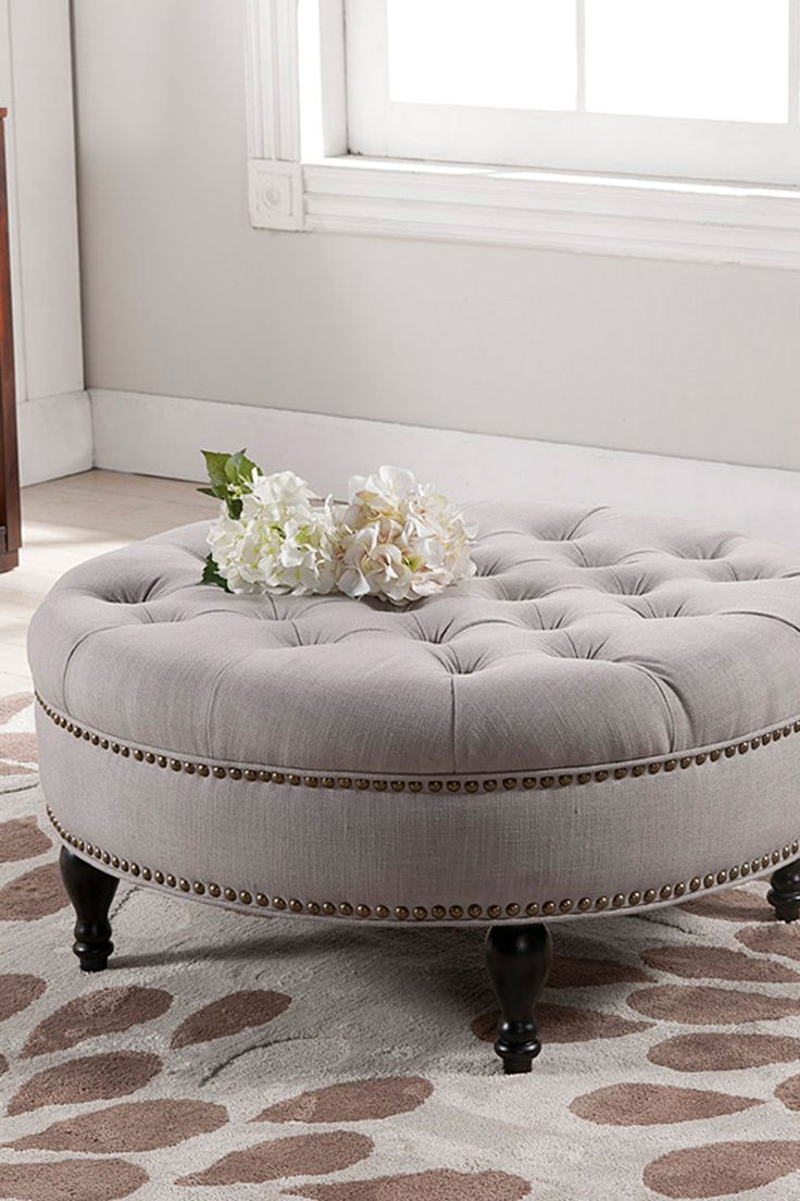 I Must Have A Round Tufted Ottoman Someday!Palfrey Beige Linen Modern  Tufted Ottoman On Photo