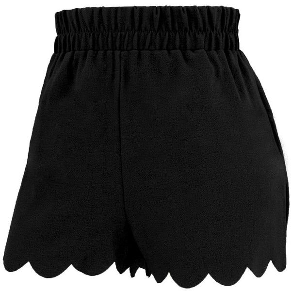 Scallop Hem Pebble Soft Short (33 BRL) ❤ liked on Polyvore featuring shorts, skirts, scalloped shorts, short spandex shorts, lycra shorts, pull on shorts and spandex shorts