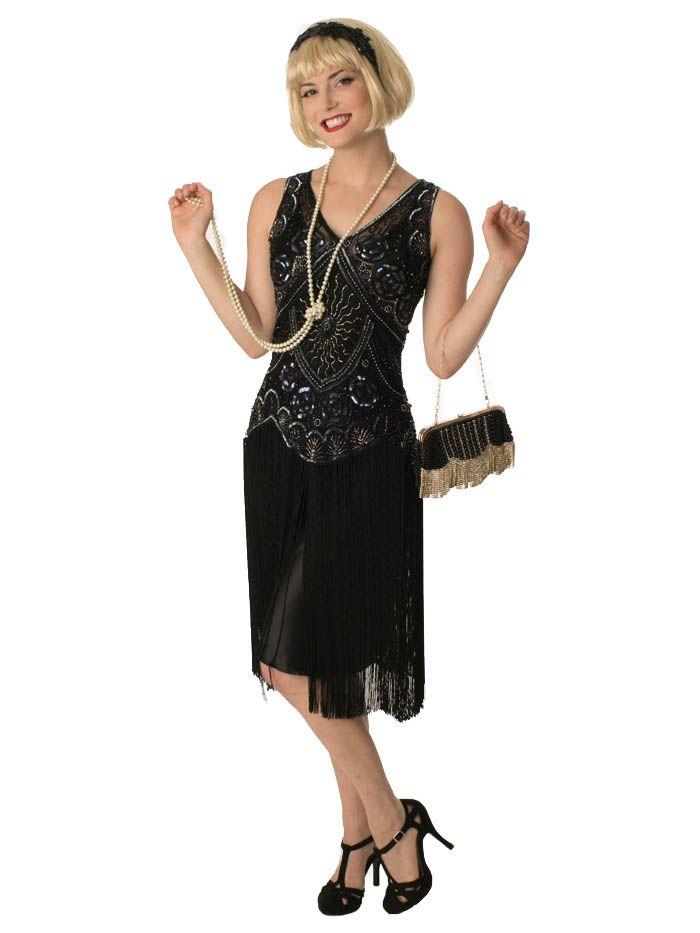 1920s Style Beaded Black Fringe Jazz Baby Flapper Dress