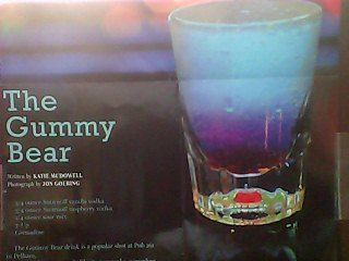 The Gummy Bear - Mix 3/4 oz of Smirnoff vanilla vodka, 3/4 oz of Smirnoff raspberry vodka and 1/4 oz sour mix. Add a splash of 7-Up. Shake and strain. Add a touch of grenadine. Serve in shot glass.   Found this in Shelby Living magazine. I think I found my birthday drink :)