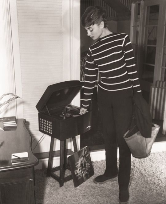 Audrey Hepburn photographed at her apartment in Manhattan, circa June 1954.
