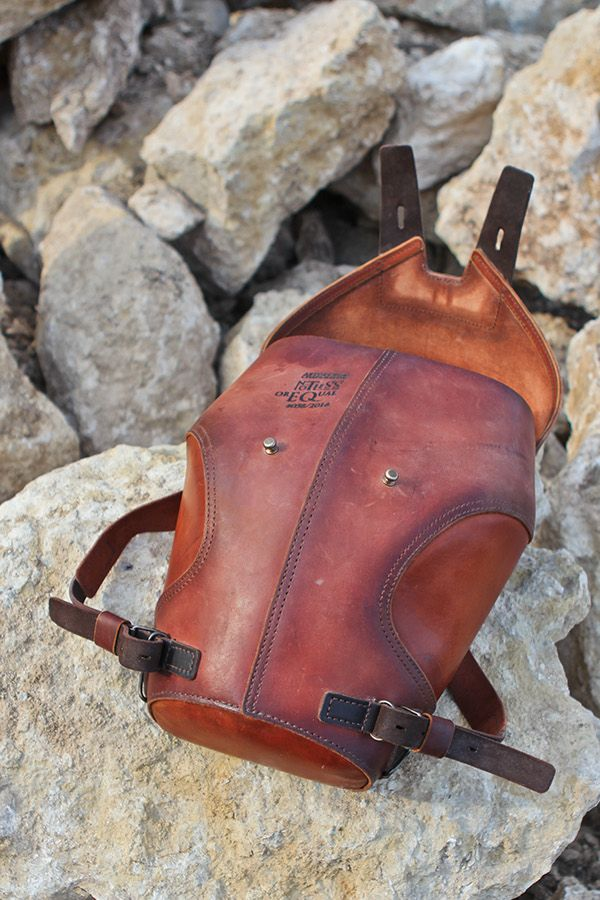 rigid leather backpack
