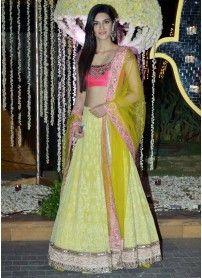 New Arrival Yellow Color Designer Lehenga Choli..  http://www.kmozi.com/bollywood-replica/online-shopping-bollywood-actress-lehenga-choli/new-arrival-yellow-color-designer-lehenga-choli-1305
