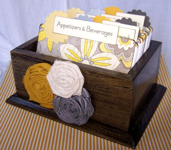 Something like this...Recipe Box, Dividers and Cards - Yellow and Gray Recipe Dividers, Dark Charcaol Gray Box. $46.00, via Etsy.
