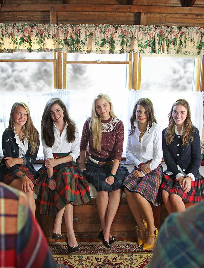 Preppy tartan plaid pleated skirts worn with white blouses and / or classic sweaters, announcing that her Bow-Tie bracelets are now available at Kiel James Patrick, Classy Girls Wear Pearls
